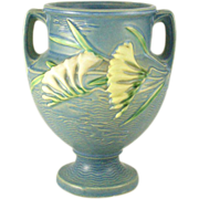 "Roseville Freesia 196-8"" Blue Double Handled Urn"