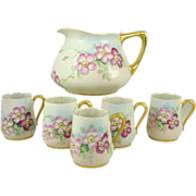 SALE Limoges Jean Pouyat Cider Pitcher With Five Mugs No Signature