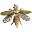 ART Hornet or Wasp Brooch With Blue and Clear Rhinestones
