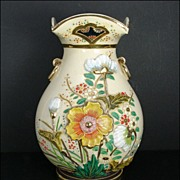 Made in Japan Floral Majolica Bulbous Vase