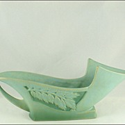 "Roseville Pottery Silhouette 729-12"" Blue-Green Bowl Ca. 1950"