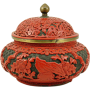 Chinese Carved Cinnabar Jar w/Lid