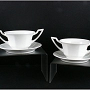 Vignaud Limoges Cream Soup Bowls and Saucers