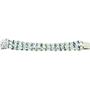 Wide 3 String Crystal Bracelet With Rhinestone Encrusted Clasp