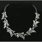 Silvertone Leaf Choker Necklace Adjustable