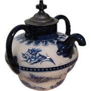 Doulton's Burslem - J.J. Royles - Flow Blue Carnation - Self Pouring Teapot ca 1886