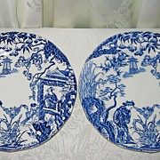 Royal Crown Derby - Blue Mikado - Luncheon Plates (2)