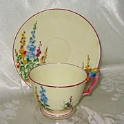 SALE Crown Staffordshire - Foxglove Floral Handle Teacup Set