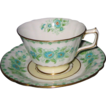 Royal Crown Derby -  Green & Blue Floral - Teacup Set