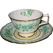 SALE Royal Crown Derby -  Green & Blue Floral - Teacup Set