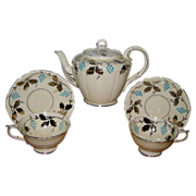 AT AUCTION Paragon - Silver Leaf Blue Grapes - Teapot, Cups & Saucers