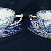 SALE Royal Crown Derby - Blue Mikado - Bouillon Cup Sets - RARE