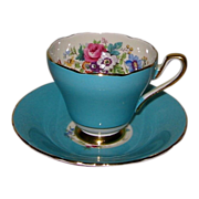 Sutherland - Teal Blue w/Florals - Teacup Set
