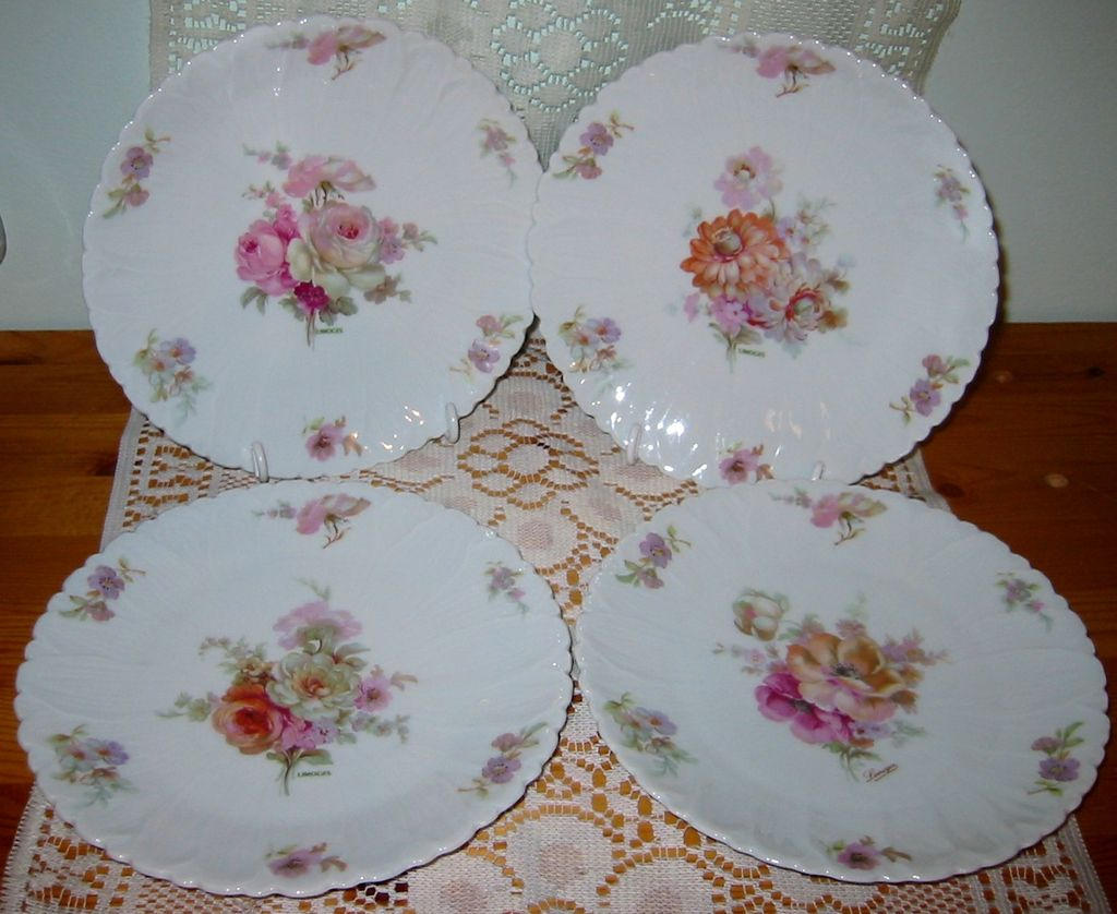 LEC Limoges - Floral Lunch Plates - R. Leclair