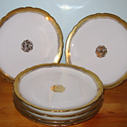 SALE Antique Limoges Jean Pouyat - Lunch Plates (6)
