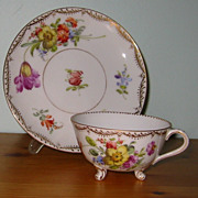 REDUCED Dresden Florals - 3 Footed Teacup Set