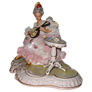 Dresden Lace Figurine - Lady with Guitar