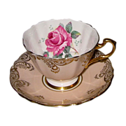 Paragon - Golden Filigree on Peach - Teacup Set