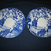 "Royal Crown Derby - Blue Mikado - 9""  Plates"