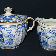 Royal Crown Derby - Blue Mikado - Cream & Sugar Set