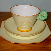 SALE Royal Paragon - Green Floral on Yellow - Teacup Trio ca1930
