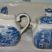 SALE Staffordshire - Liberty Blue - Cream, Sugar & Tray