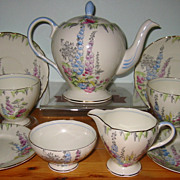 SALE Old Foley - Hollyhocks Tea Set (9pcs)