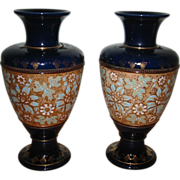Royal Doulton  Slater -  Tall Gilt Vases (2)
