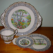 Royal Albert - Silver Birch Cake Plate & Snack Set