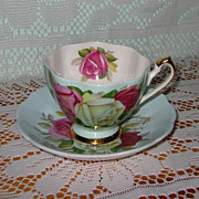 Queen Anne - Chic Roses on Blue - Teacup Set