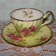 Foley - Pink Roses on Yellow - Teacup Set