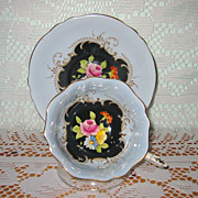 Paragon - Florals on Black Teacup Set