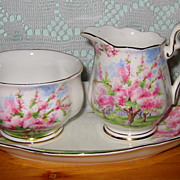 Royal Albert - Blossom Time - Cream,Sugar & Tray