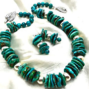 Turquoise & Sterling Necklace & Earrings