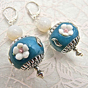 Spring Flower Earrings: Nepalese Enamel & Agate, 2-1/4 Inches