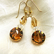 Swarovski Topaz Crystal Earrings, 2-1/8 Inches