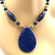 Understatement Necklace of Lapis & Gold-Fill, 24-1/2 Inches