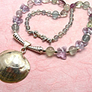 Mermaid's Dream Necklace: Fluorite Crystal Sterling, 21-1/2 Inches