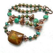 SALE Man's Turquoise, Copper & Variscite Necklace, 19 Inches