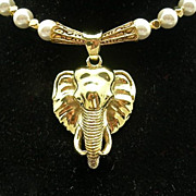Stunning Brass Elephant Head & Shell Pearl Necklace, 20-1/2 Inches
