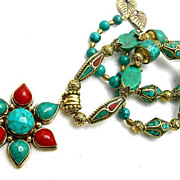 SALE Turquoise, Brass & Coral Necklace, 24 Inches