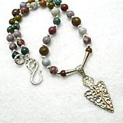 SALE Man's Sterling Arrowhead & Ocean Jasper Necklace, 18-1/2 Inches