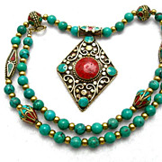 REDUCED Turquoise, Coral & Brass Necklace, 23 Inches