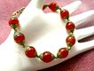 Carnelian & Brass Bracelet, 7-1/2 Inches