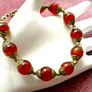 SALE Carnelian & Brass Bracelet, 7-1/2 Inches