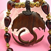 Tree of Life Necklace: Wood, Jasper, Brass: 21-1/2 Inches