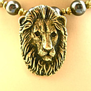 Lion Totem Necklace: Brass & Pearl, 23-1/2 Inches