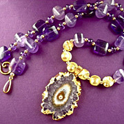 "Orchid Essence Necklace of Amethyst & Vermeil, ""Joyous Purification,"" 18 Inches"