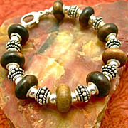 Man's Awesome Wood & Sterling Bracelet, 7-1/2 Inches