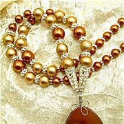 Orchid Essence &quot;Unconditional Snuggles&quot; Necklace of Agate, Glass, Wood & Sterling, 2